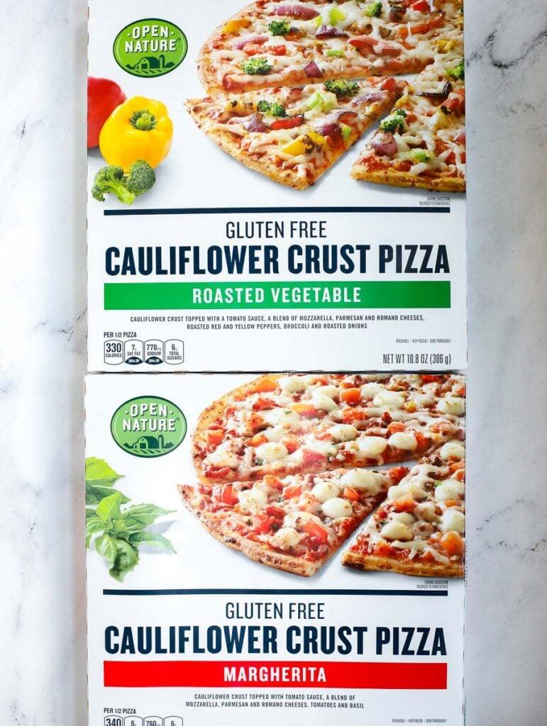 box view of the cauliflower pizzas