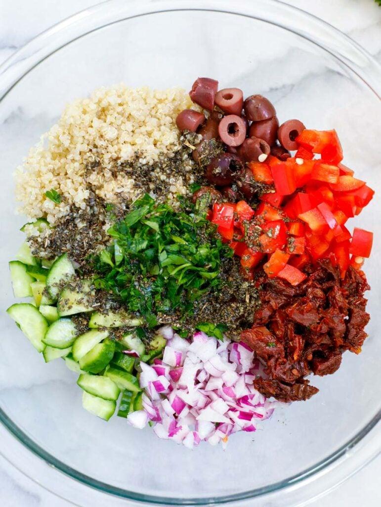 ingredients for Easy Mediterranean Quinoa Salad recipe