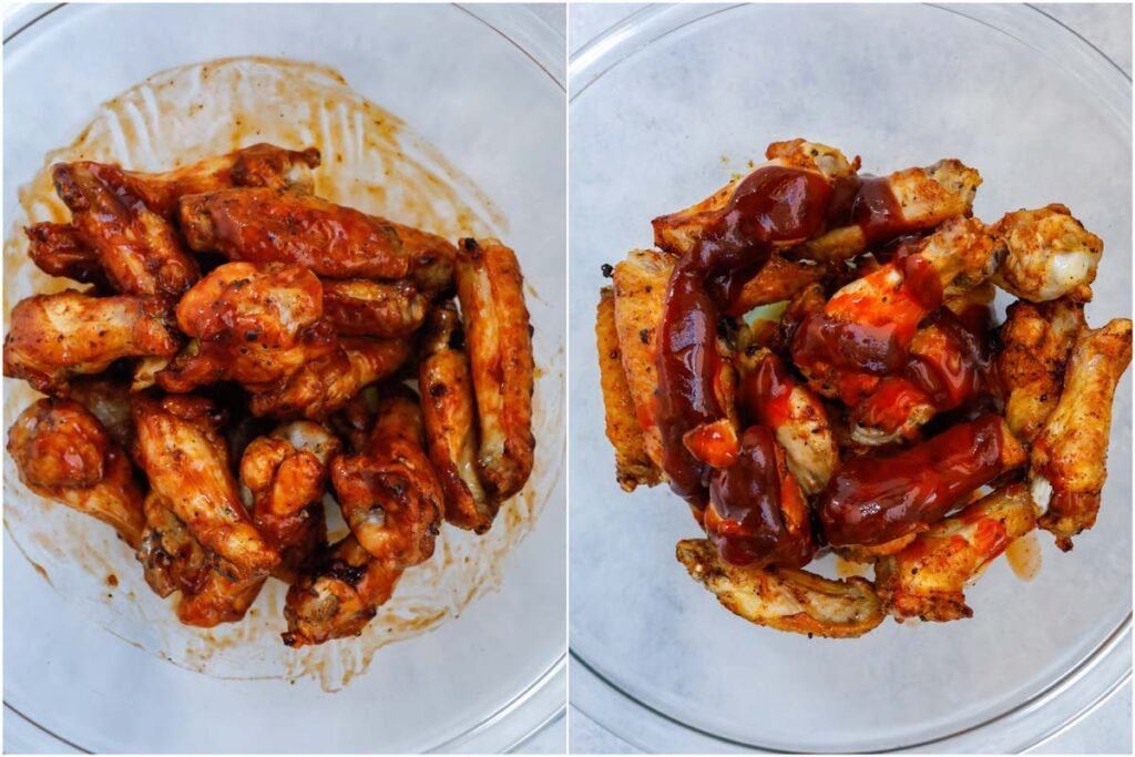 coating chicken wings in a bowl with BBQ sauce.