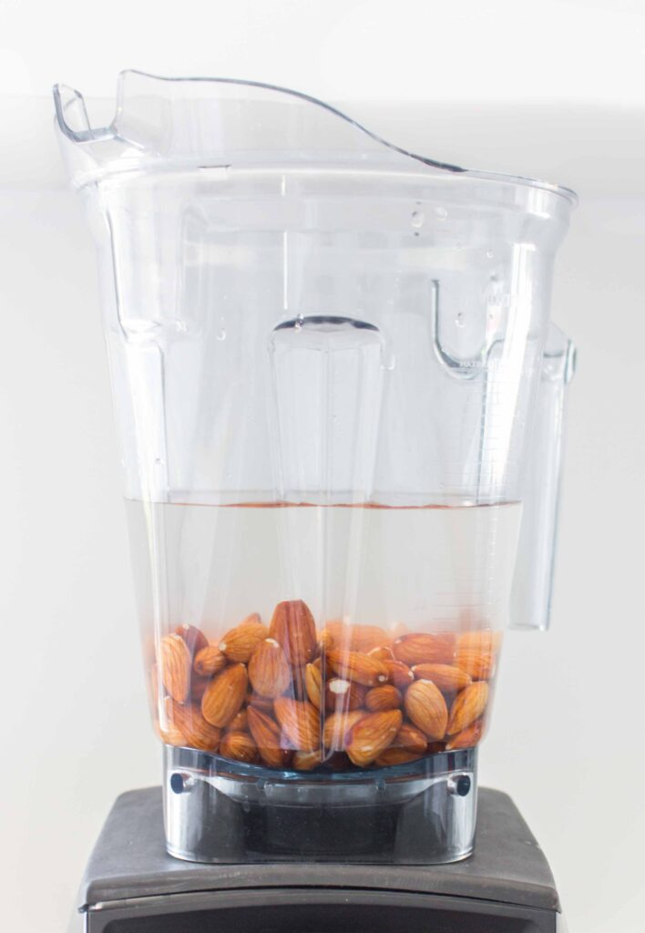 almonds with water in blender to make almond milk