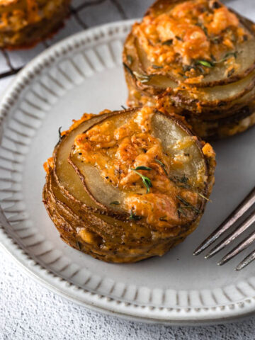 cheese potato stacks on a plate