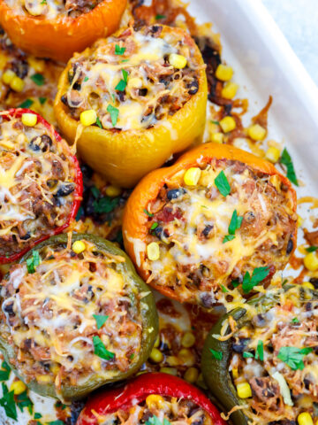 top down shot of Healthy Stuffed Peppers in a baking dish.