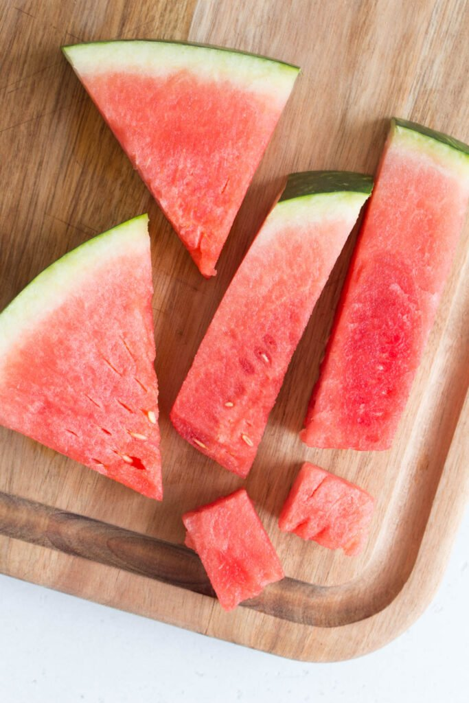 watermelon wedges, watermelon sticks, and watermelon cubes