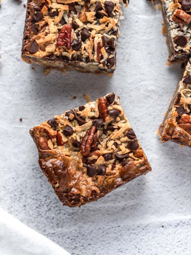 top down close up view of the coconut magic bars