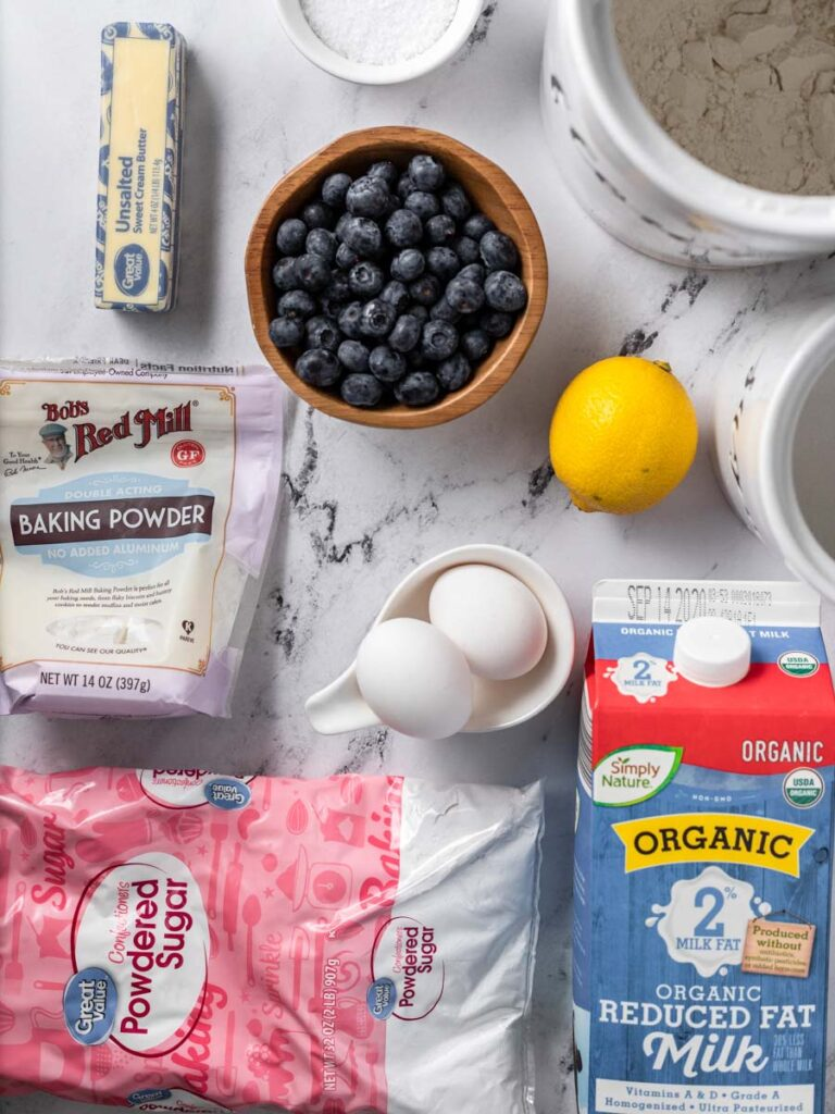 ingredients of blueberry lemon bread laid out