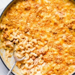 top down shot of the mac and cheese in a skillet