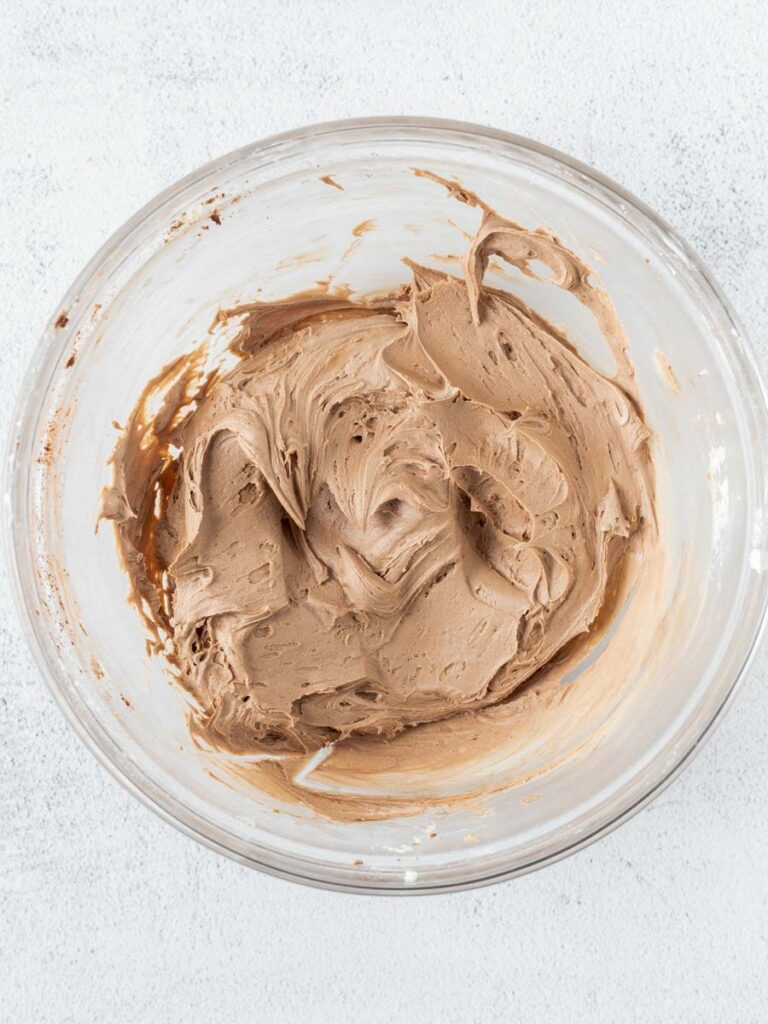 chocolate frosting in a bowl