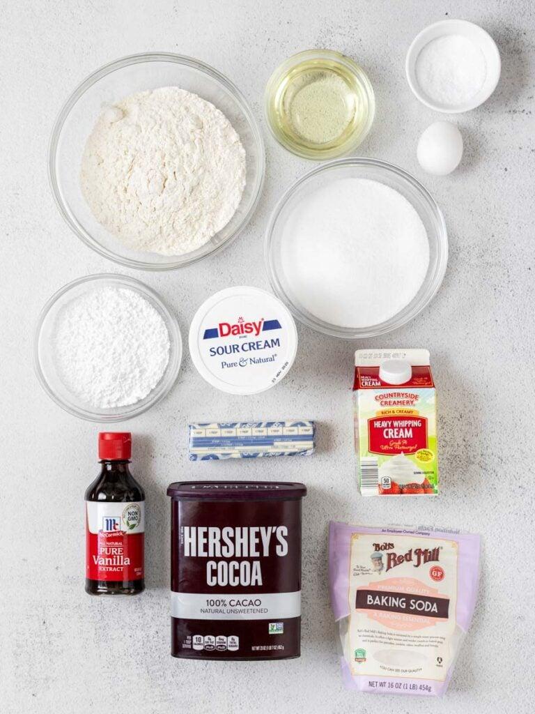 top down shot of chocolate cupcake ingredients
