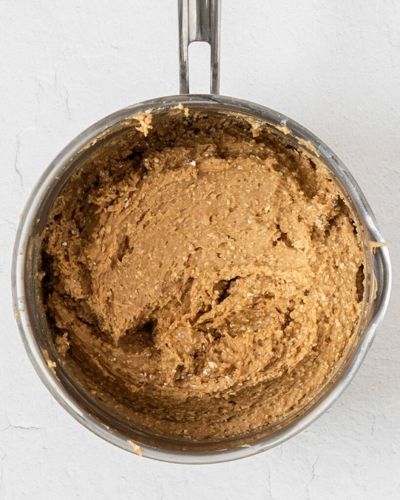 the peanut butter mixture in a pot