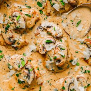 Creamy Mushroom Chicken Thighs in a skillet