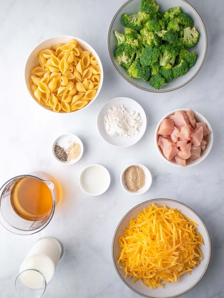 creamy broccoli mac and cheese ingredients laid out