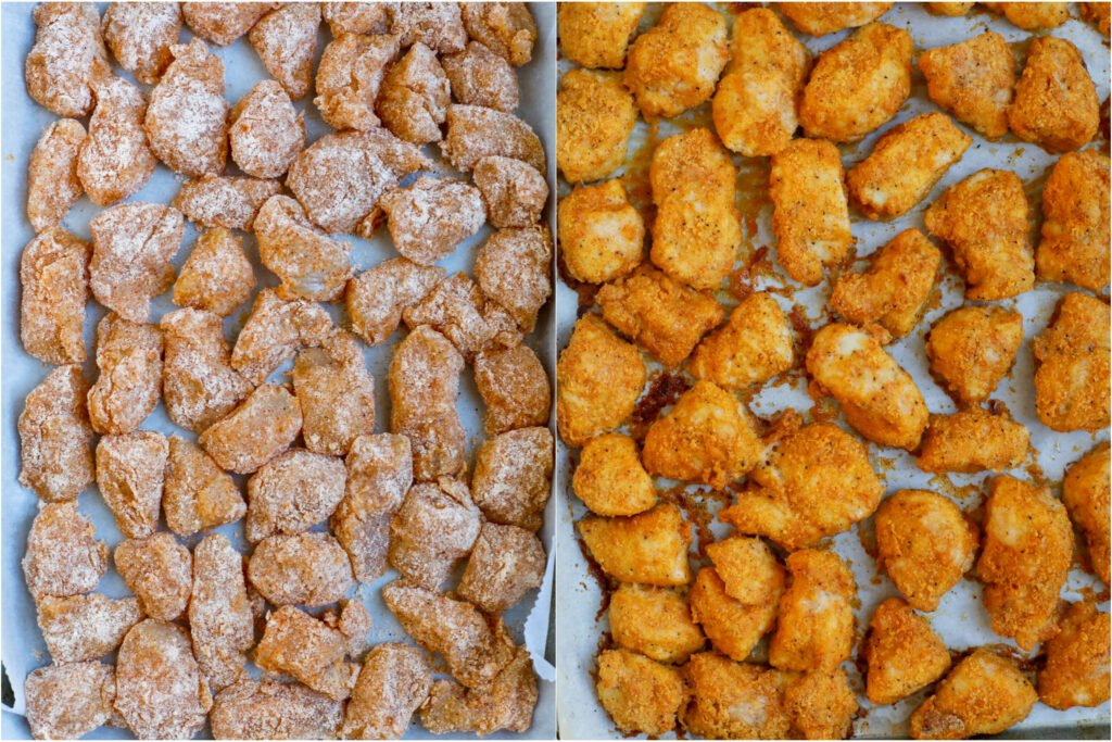 Crispy chicken pieces in a sheet pan before and after baking.