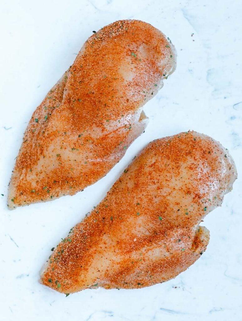 Seasoned chicken breasts.