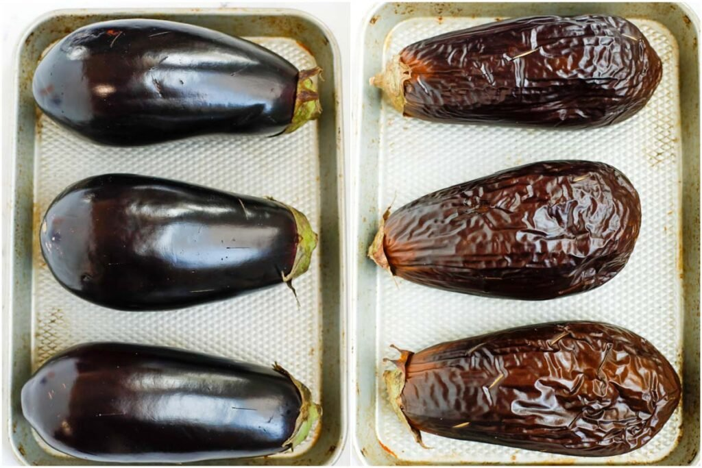 eggplant before and after baking