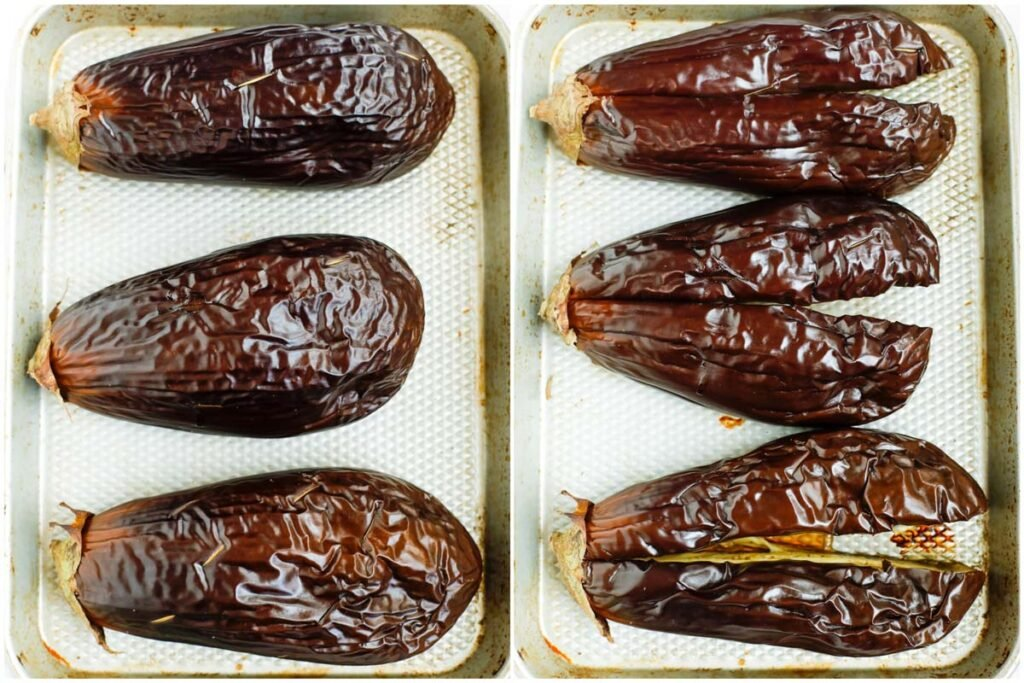 roasted eggplant on a tray with skin on