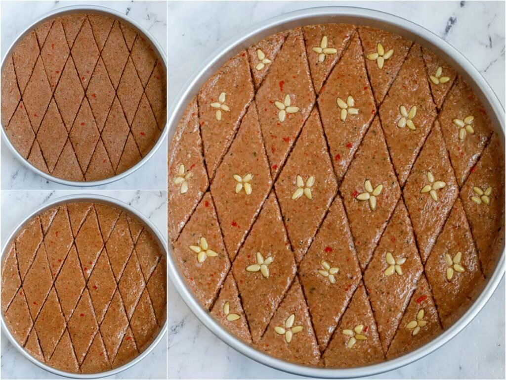 photos showing how to cut the kibbeh into diamond shape