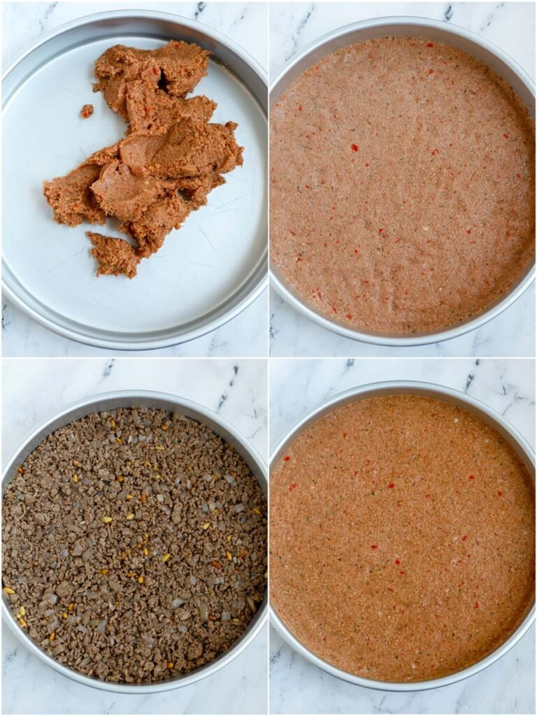 photo showing steps on how to assemble the kibbeh