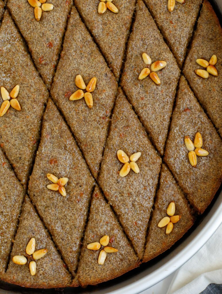 close up top down shot of baked kibbeh