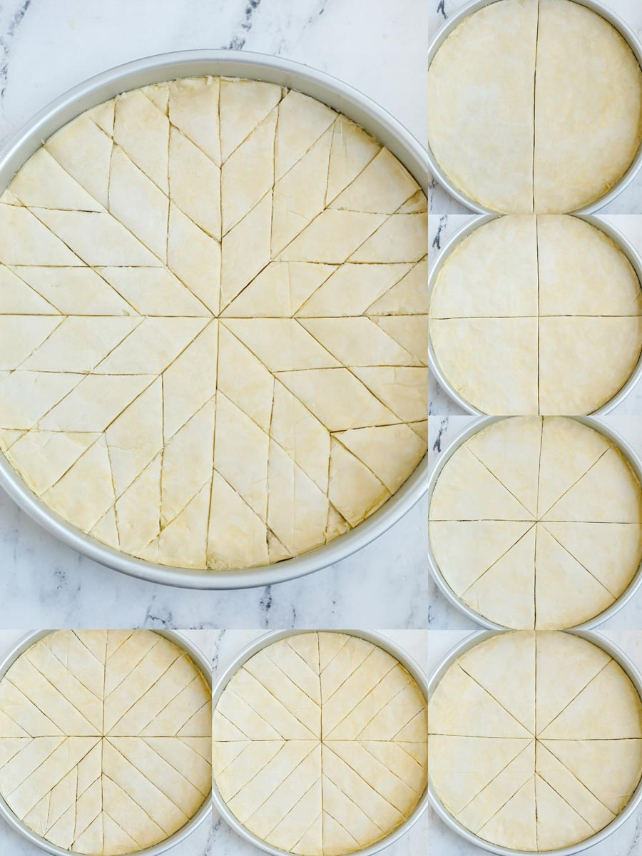 top down shots showing how to cut baklava.