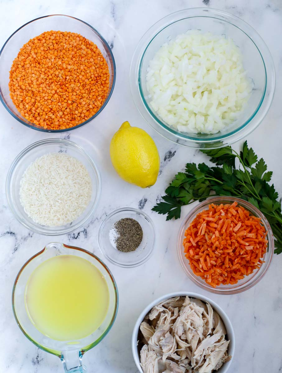 Ingredients needed for chicken lentil soup.