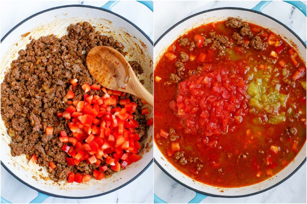 Set of two photos showing bell peppers added to a pot and diced tomatoes with liquid added.