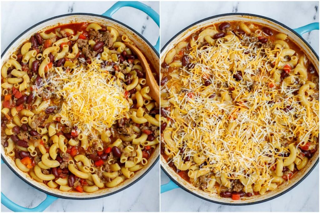 Set of two photos showing cheese being mixed into a pot of chili mac and cheese.