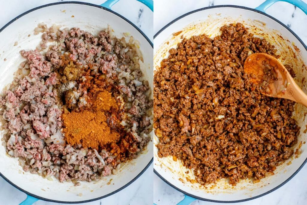 Set of two photos showing seasoning added to ground meat.