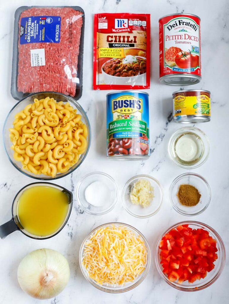 Ingredients needed to make chili mac and cheese.