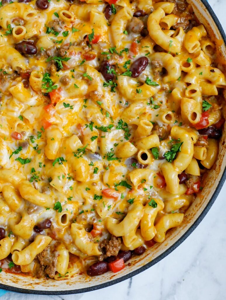Close up of a pot of chili mac and cheese.