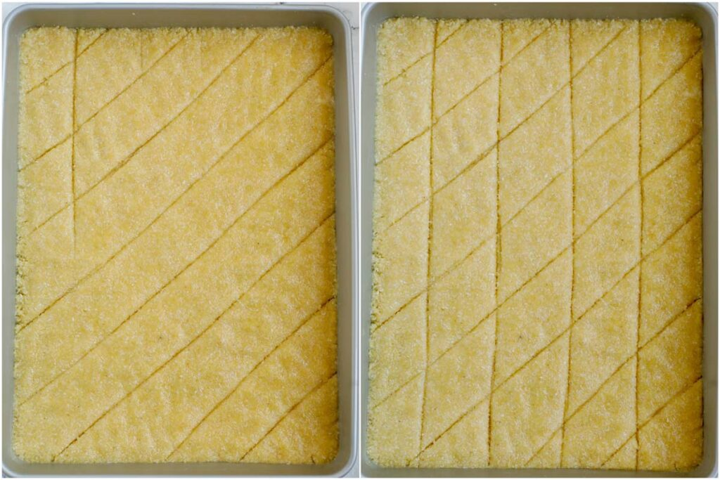 Set of two photos showing how the Coconut Basbousa is cut before baking.