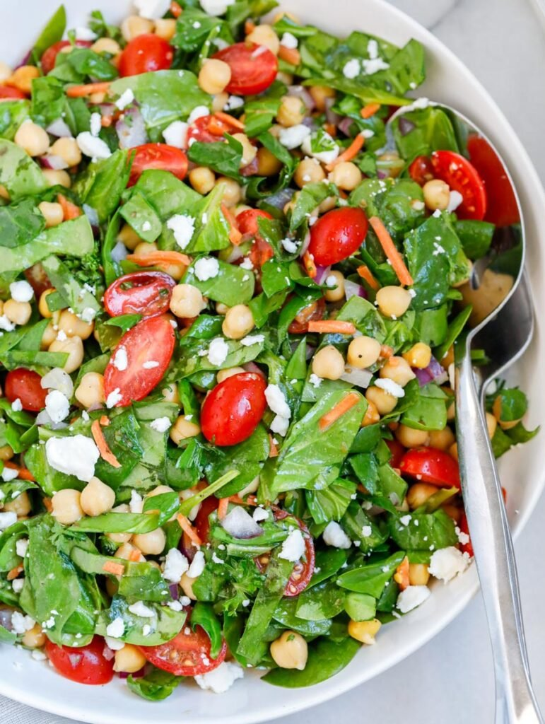 Close up of an easy chickpea spinach salad.