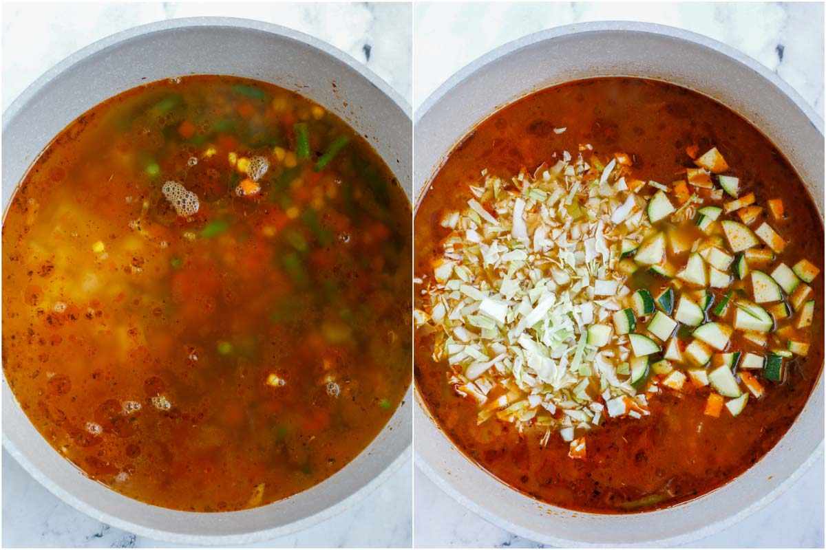 Set of 2 photos showing liquid added to the pot of vegetables and then more vegetables added in.