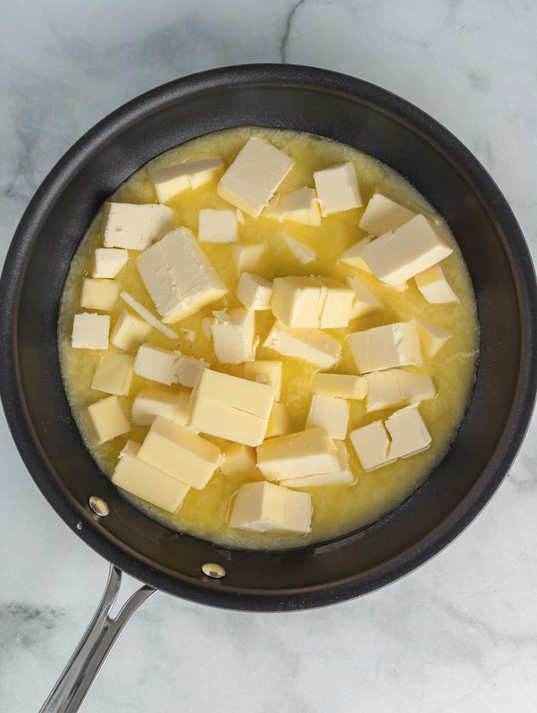 Butter melting in a pan.