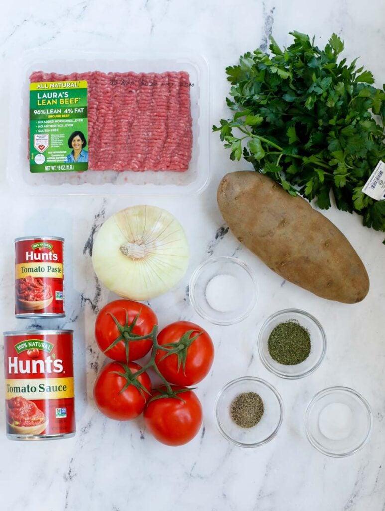 Ingredients needed to make kafta and potato stew.