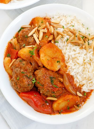 Kafta and potato stew served with vermicelli rice.