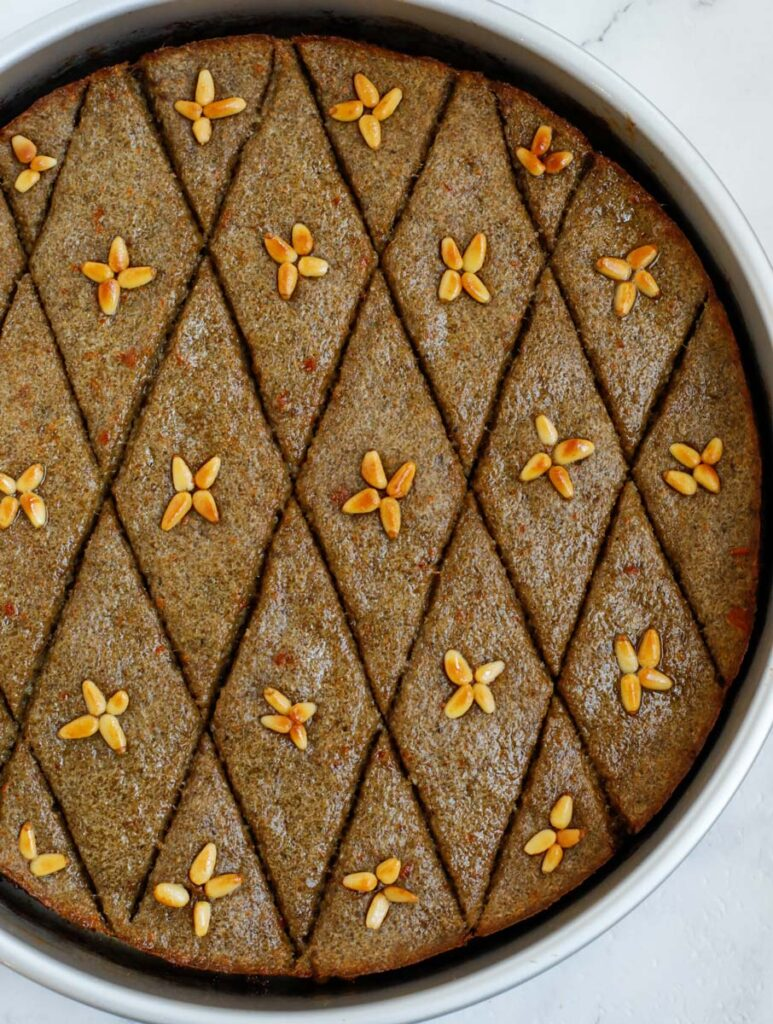 top down show of finished baked kibbeh in a baking dish