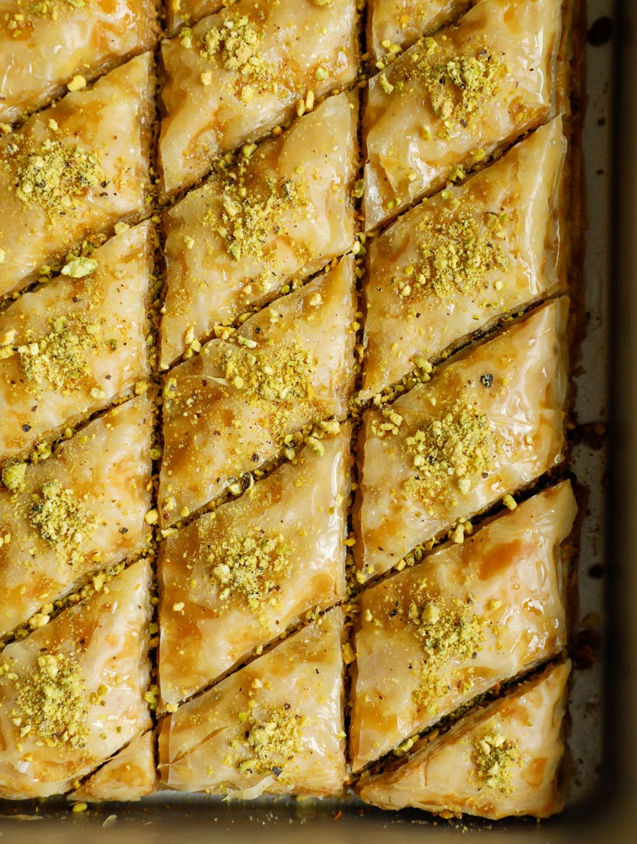 Close up of pistachio baklava in the pan.