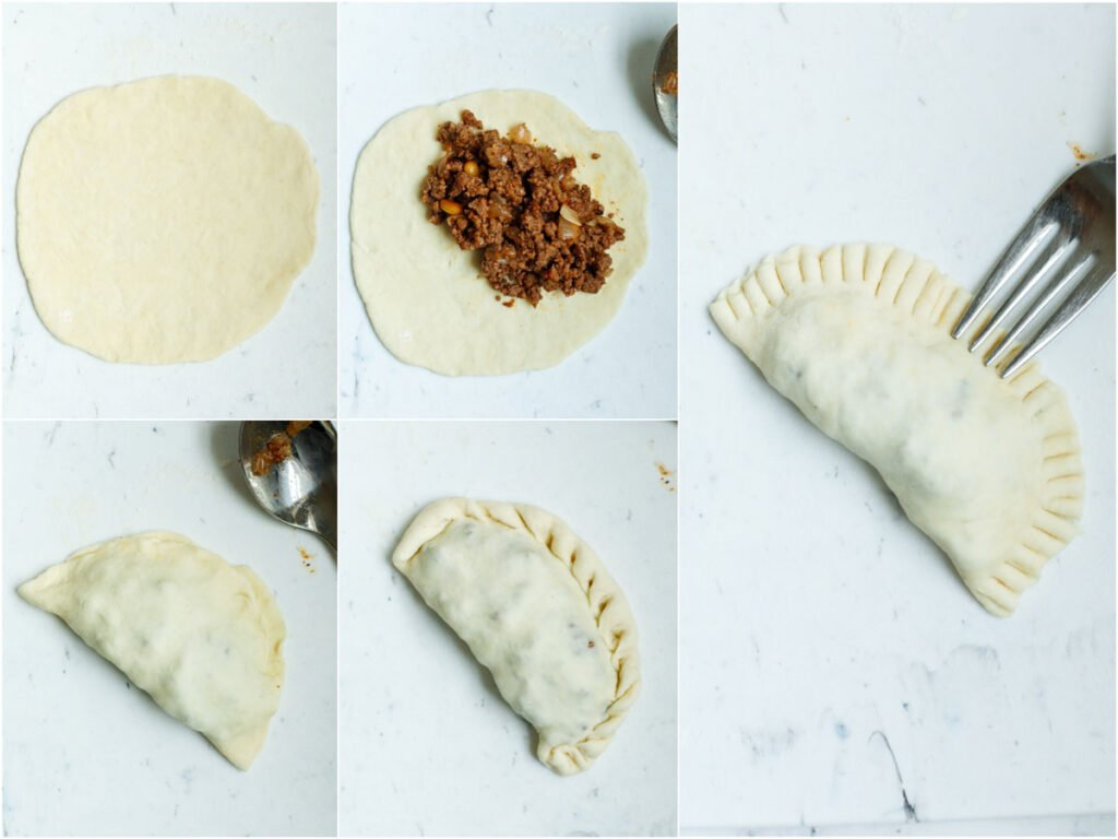 Set of five photos showing how to roll out the dough into a circle, add in the filling, folded, and sealed.