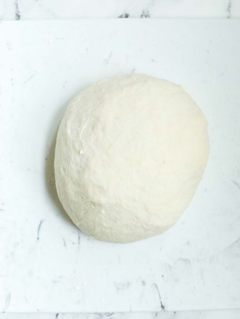 A ball of dough after being kneaded.