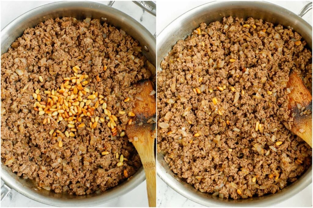 Set of two photos showing pine nuts added to the meat filling in a pan and mixed together.