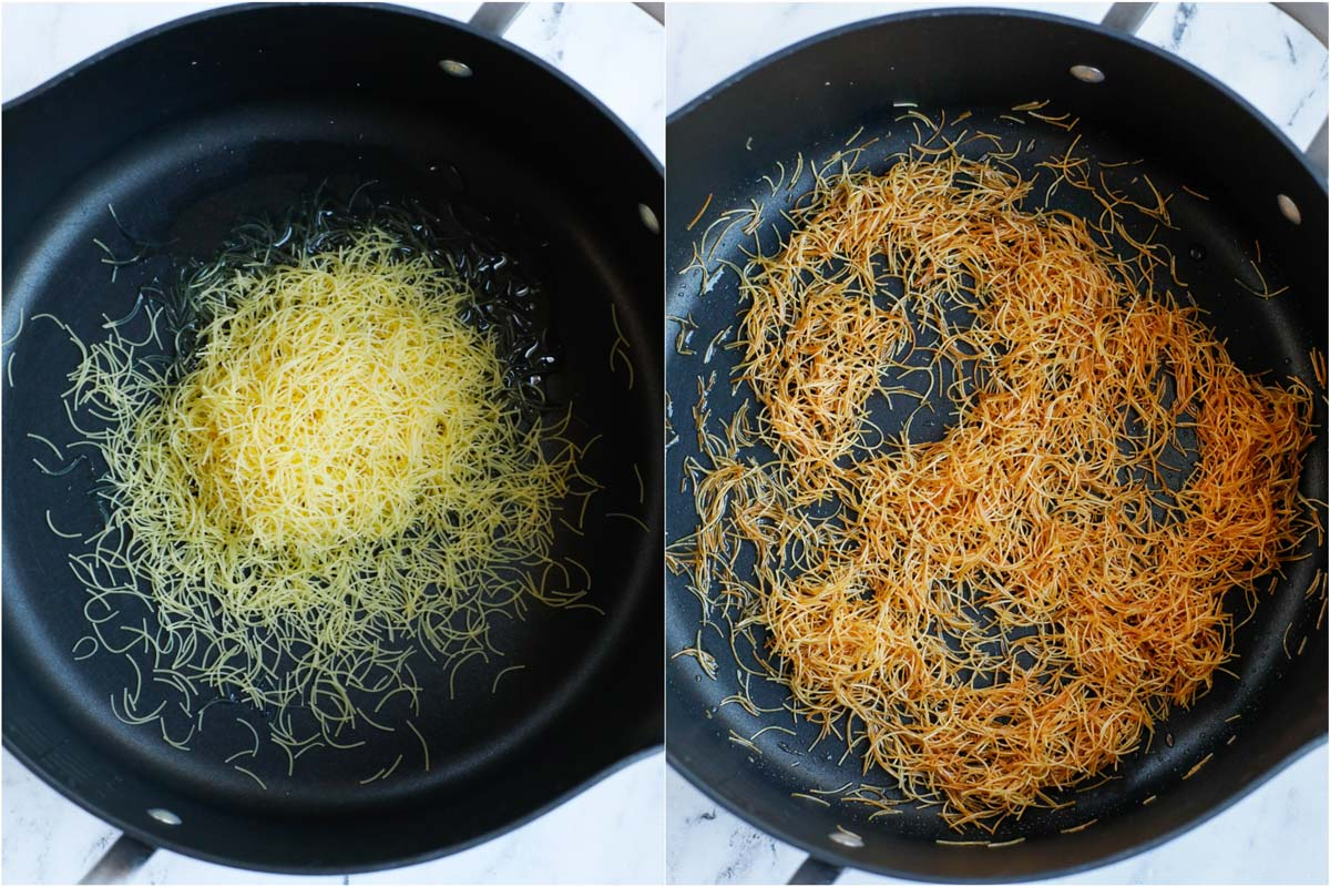 vermicelli pasta before and after its toasted
