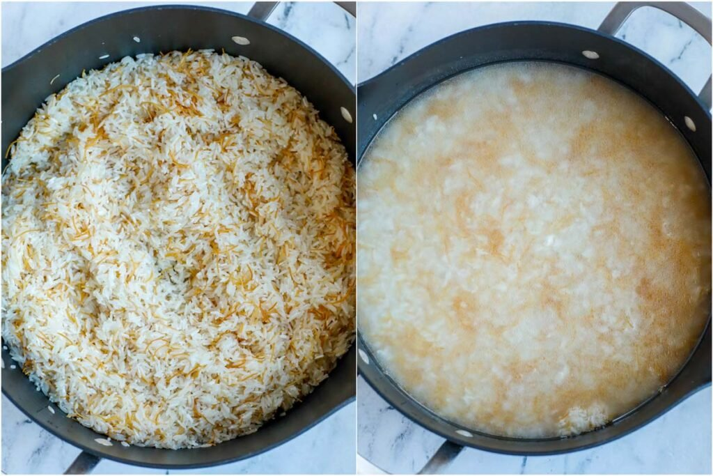 vermicelli rice in a pot before and after adding water