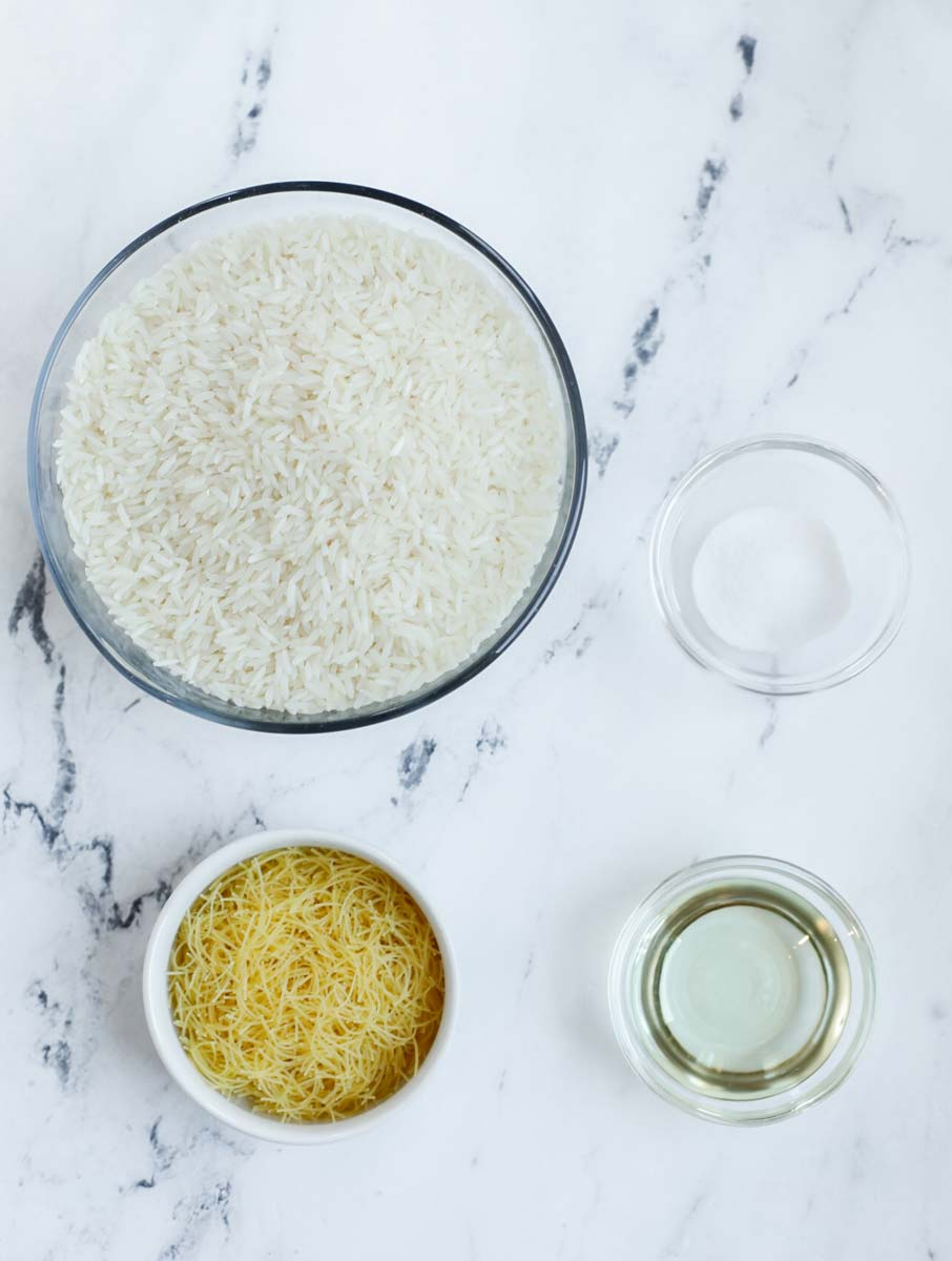 top down shot of the ingredients needed for vermicelli rice