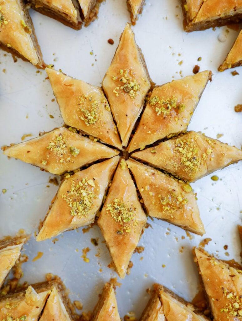 Cut out of walnut baklava shaped like a star.