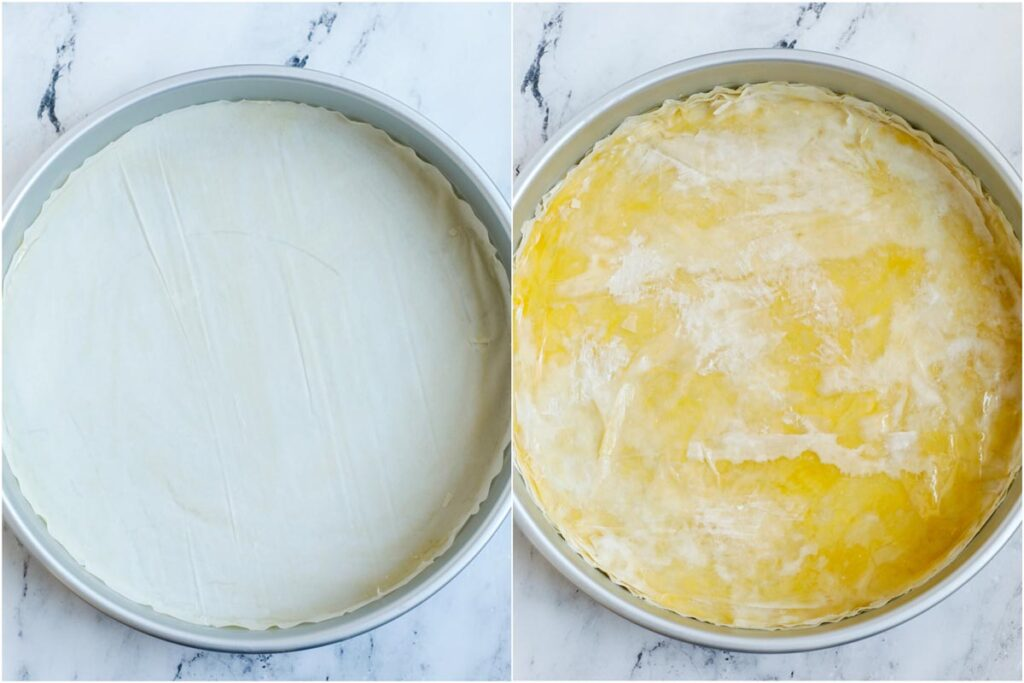 Set of two photos showing phyllo sheets in a round container and then brushed with ghee and syrup.