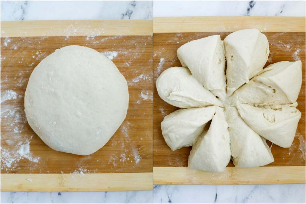 dough after being cut into 8 even pieces