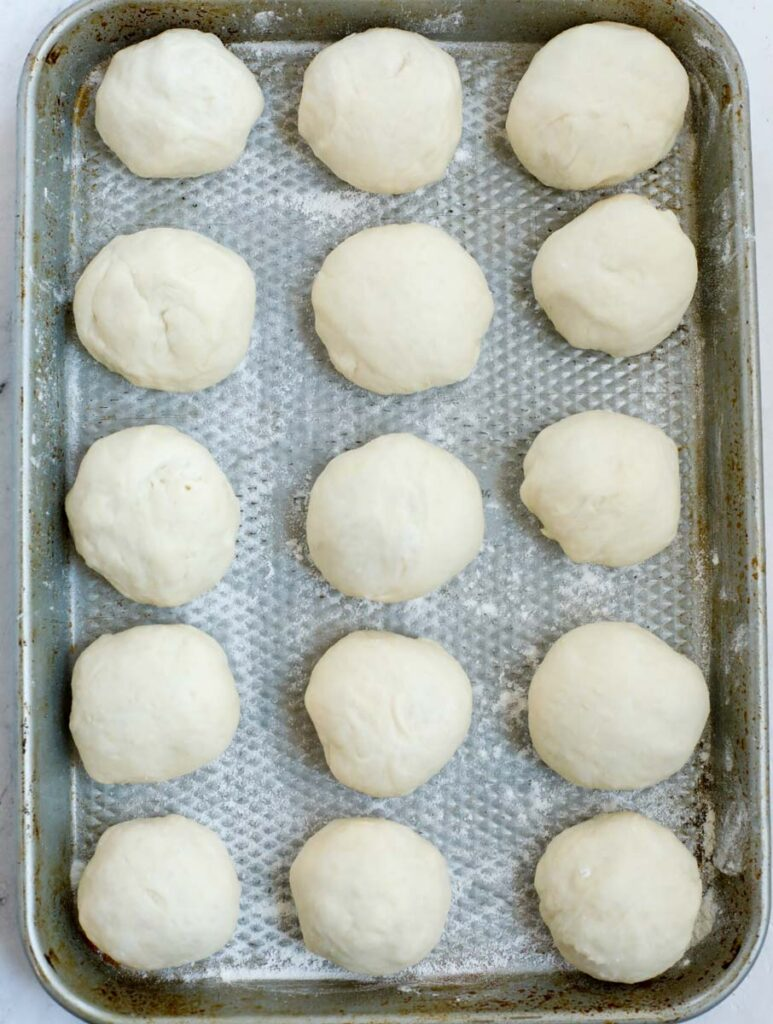 dough balls on a sheet pan