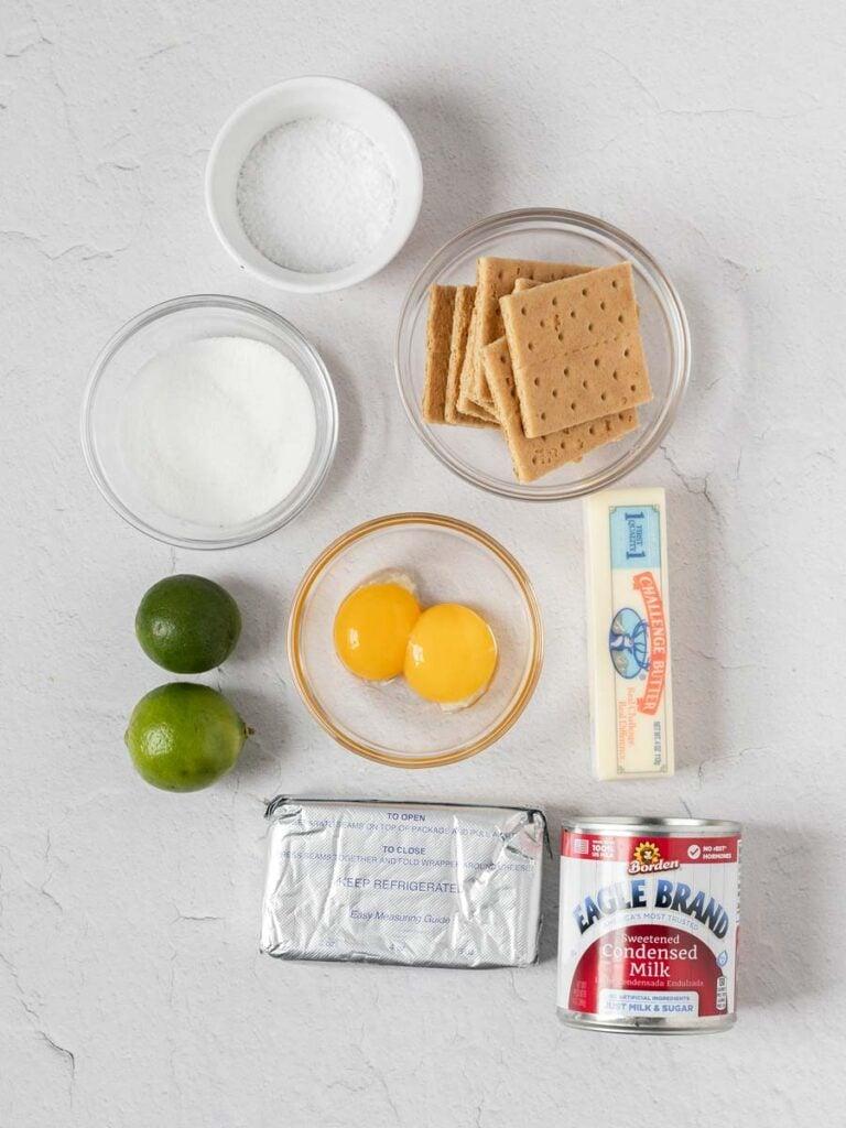 ingredients of key lime pie bars