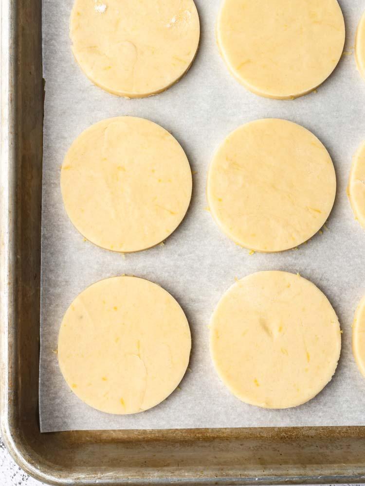 lemon cookie on a sheet pan before baking