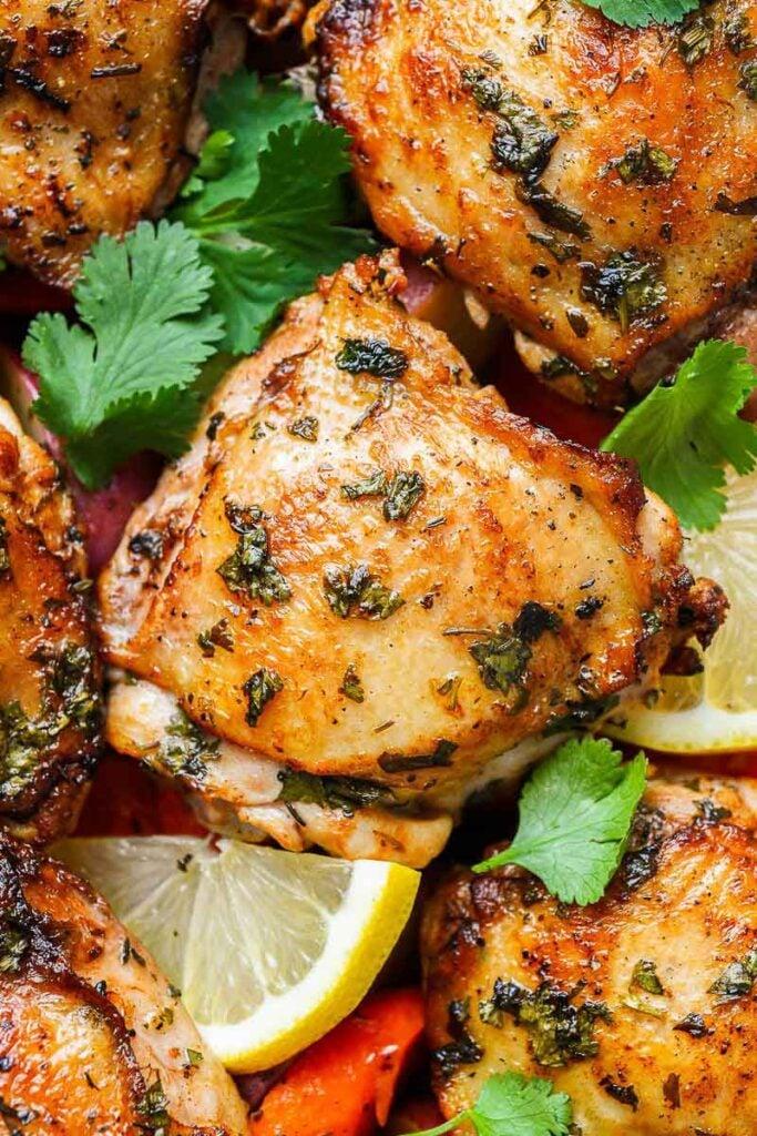 close up shot of chicken thighs